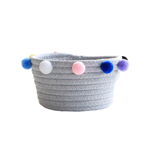 Ins Nordic Cotton Rope Storage Basket With Pompom Desktop Sundries Organizer Woven Finishing Bin Dirty Clothes Laundry Baskets