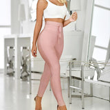 Lace up bandage slim fit pencil pants Women solid skinny high waist pants Summer long trousers Sexy sweatpants pantalon