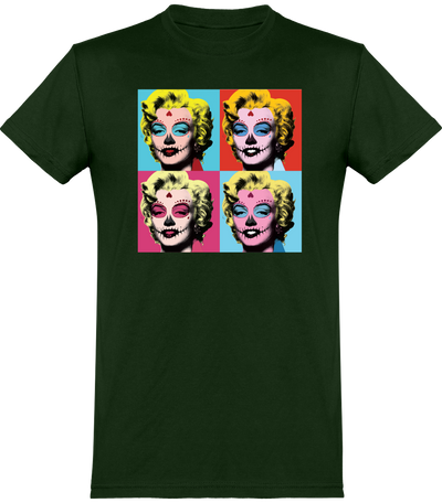 "T-SHIRT HOMME ""HALLOWEEN MARILYN""-Vert Bouteille-XS-T shirt drôle Passion Bouffe"
