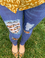 Leopard Patch Jean Leggings