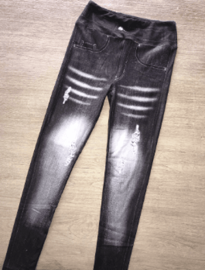 Black Distressed Jean Leggings