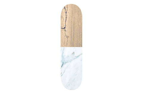 Wooden White Marble Skateboard | Refresh Board Shop