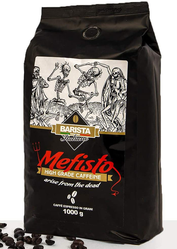 Italian Coffee Beans 1KG Mefisto - Dark Roast Extra Strong Coffee ♨️  High Grade Caffeine