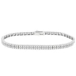 CZ Sterling Silver Two Strand Tennis Bracelet