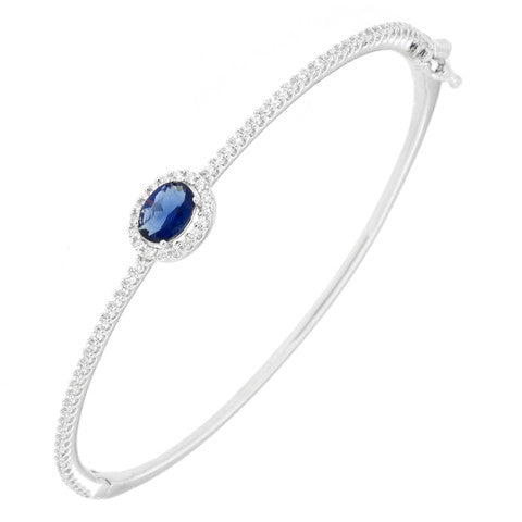 CZ Sterling Silver Bangle with Oval Blue CZ