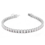 CZ Sterling Silver Tennis Bracelet Princess Cut Stones