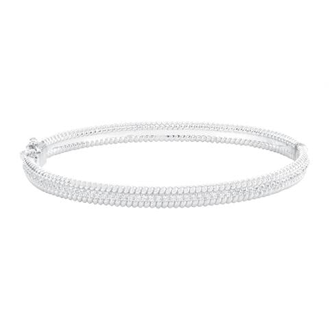CZ Sterling Silver Rope Edge Bangle