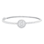 CZ Sterling Silver Cluster Bangle