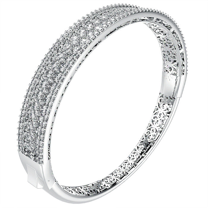 CZ Sterling Silver Wide Bangle