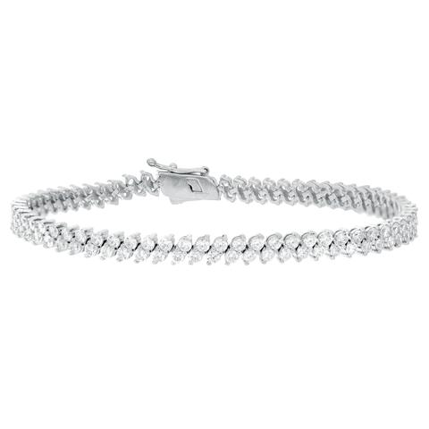 CZ Sterling Silver Double Tennis Bracelet