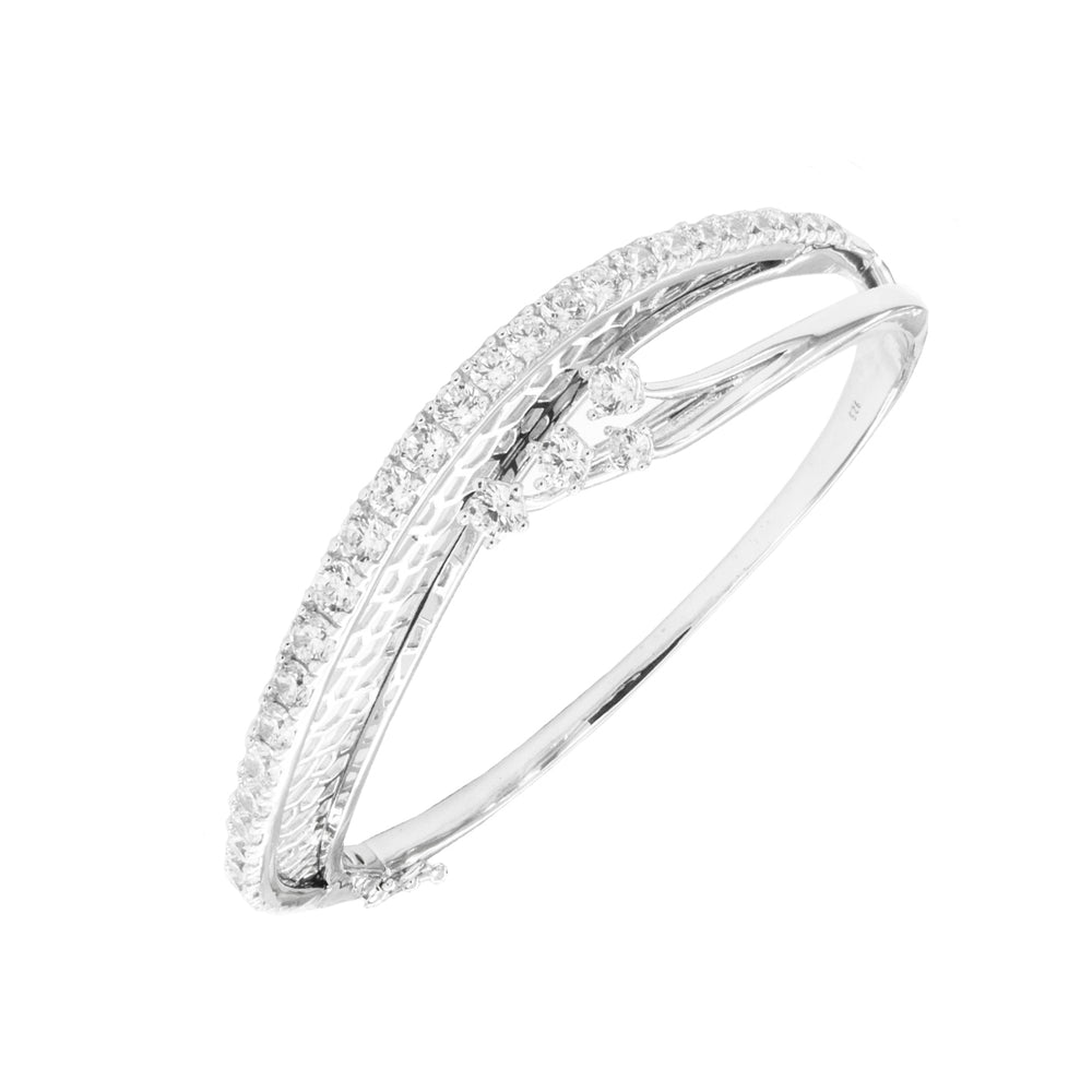 CZ Sterling Silver Fancy Bangle