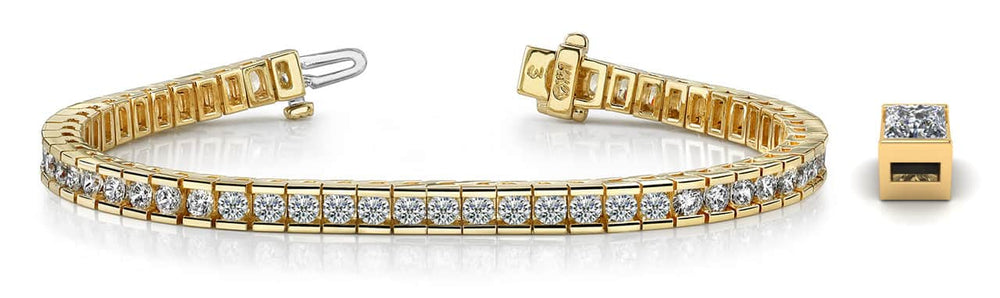 Gold Diamond Bar Set Tennis Bracelet   B130