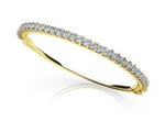 Gold Diamond Princess Cut Bangle Bracelet    BB23