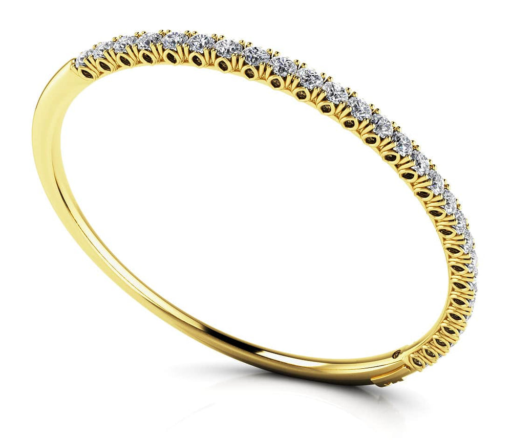 "Gold Diamond ""Tulip"" Setting Bangle Bracelet   BB39"