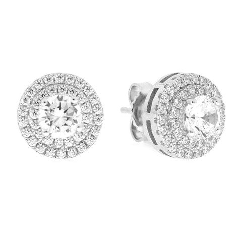 CZ Sterling Silver Double Halo Studs