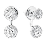 CZ Sterling Silver Double Halo Drop Earrings