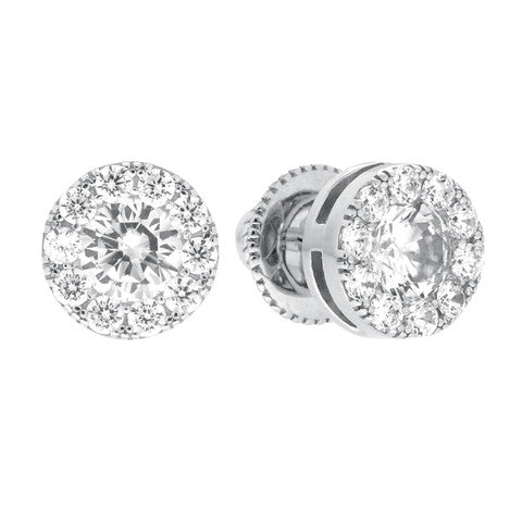 CZ Sterling Silver Large Cluster Studs