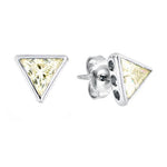CZ Sterling Silver Triangle Studs