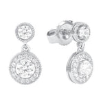 CZ Sterling Silver Bead Edge Halo Earrings