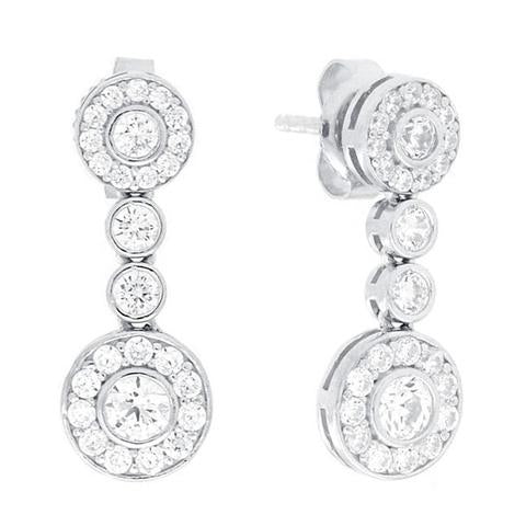 CZ Sterling Silver Multi Stone Drop Earrings