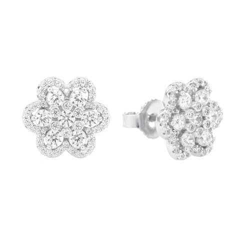 CZ Sterling Silver Flower Cluster Studs