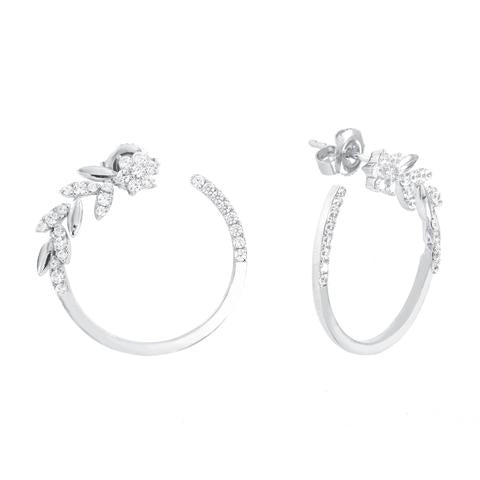 CZ Sterling Silver Floral Hoops