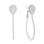 CZ Sterling Silver Pear Cluster Drop Earrings