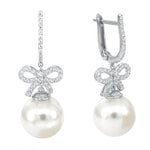 CZ Sterling Silver Pearl Drop Earrings