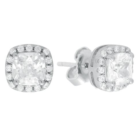 CZ Sterling Silver Cushion Halo Studs