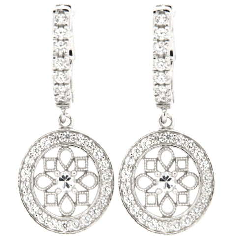 CZ Sterling Silver Vintage Style Earrings