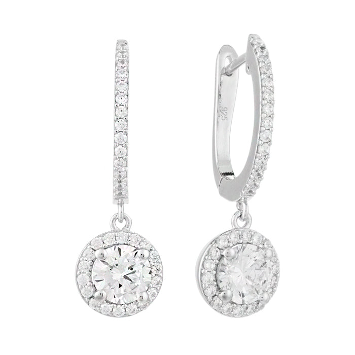 CZ Sterling Silver Halo Drop Earrings