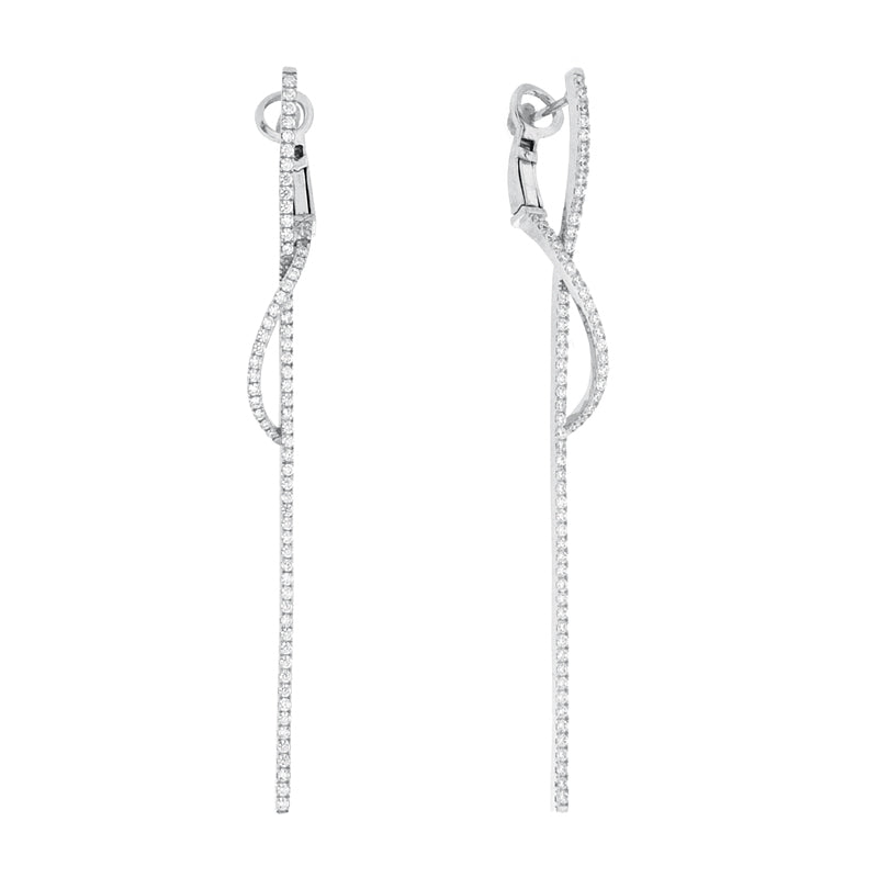 CZ Sterling Silver Swirl Top Line Earrings