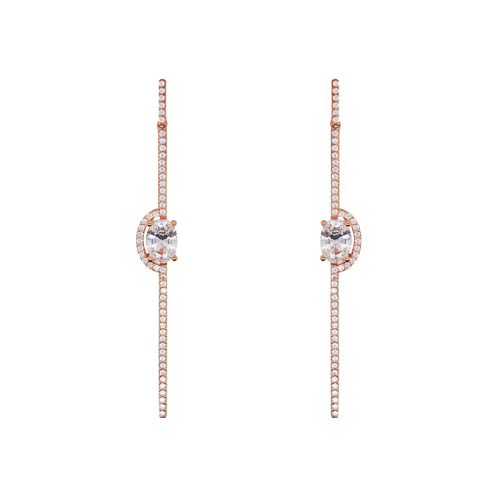CZ Sterling Silver Line Earrings