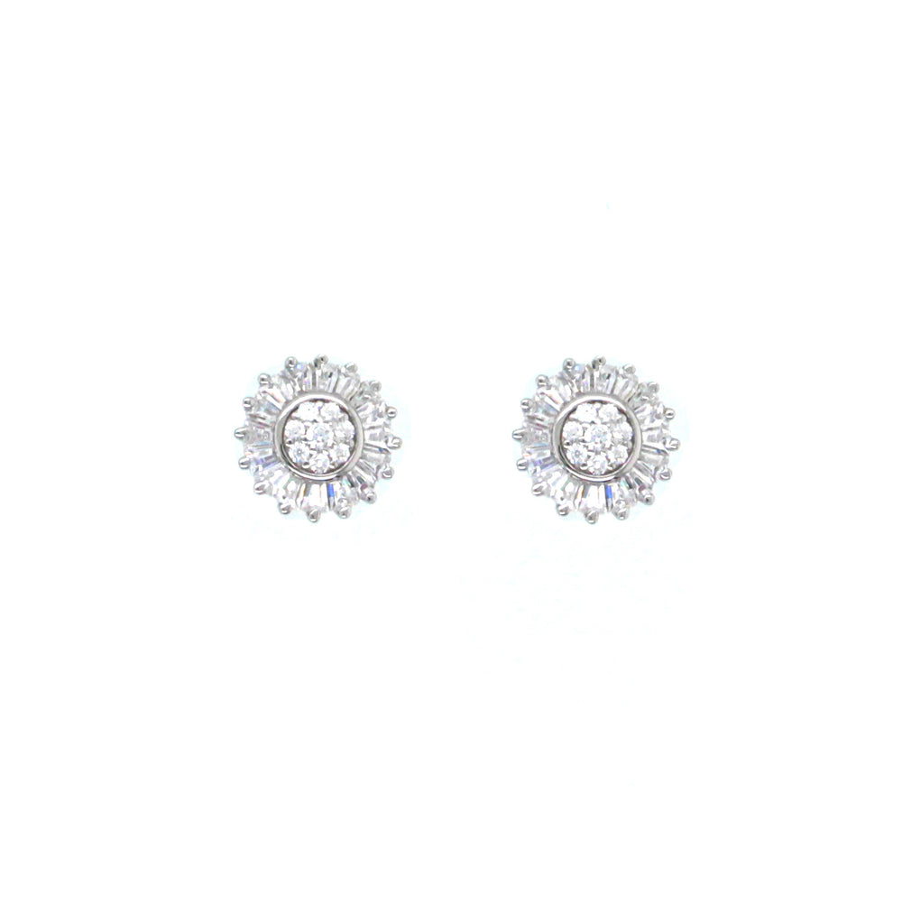 CZ Sterling Silver Small Flower Studs
