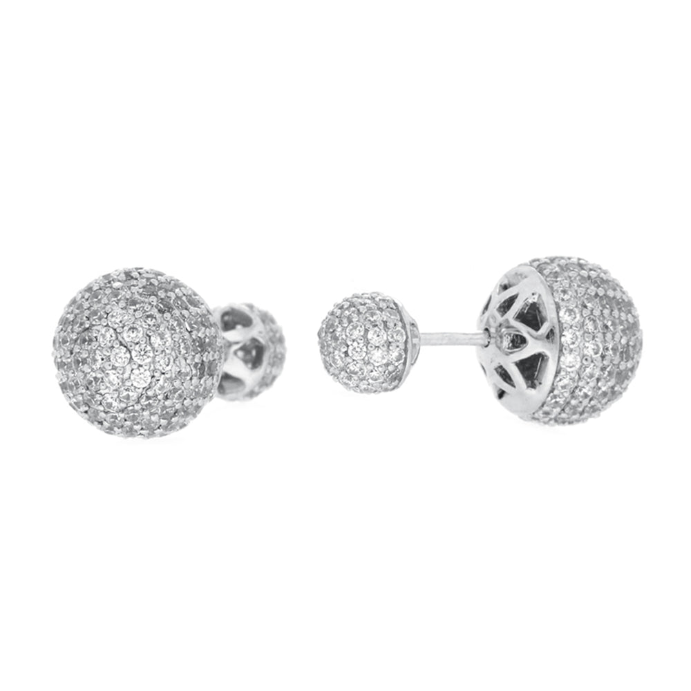 CZ Sterling Silver Pave Ball Studs