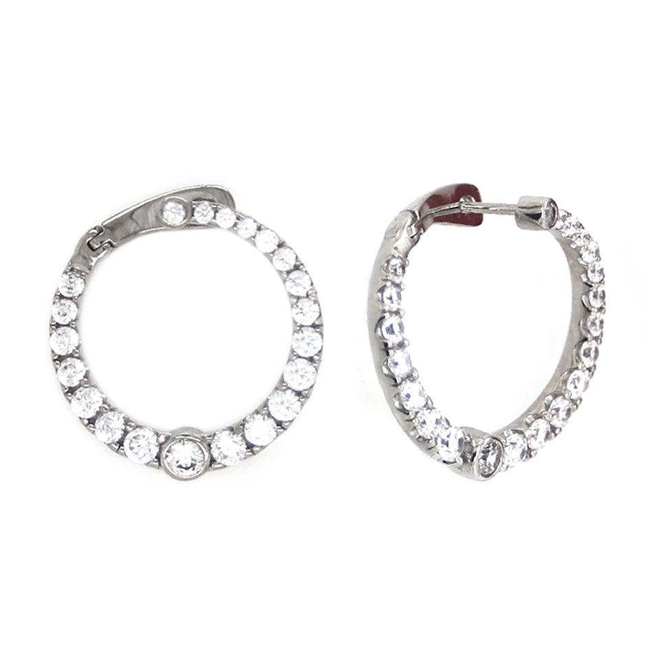 CZ Sterling Silver Fashion Hoops