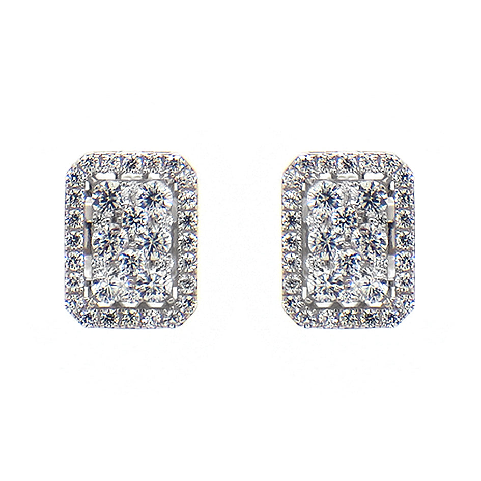 CZ Sterling Silver Rectangular Pave Earrings