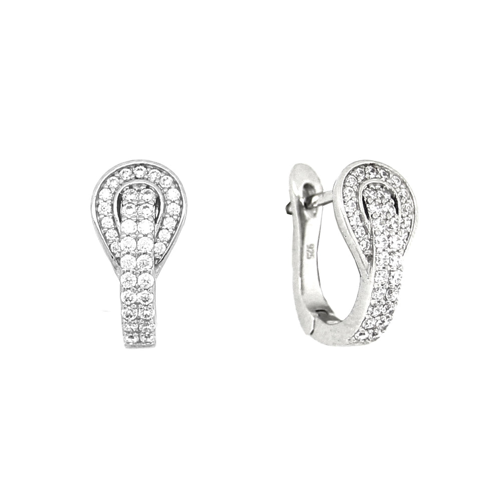 CZ Sterling Silver Pave Buckle Earrings