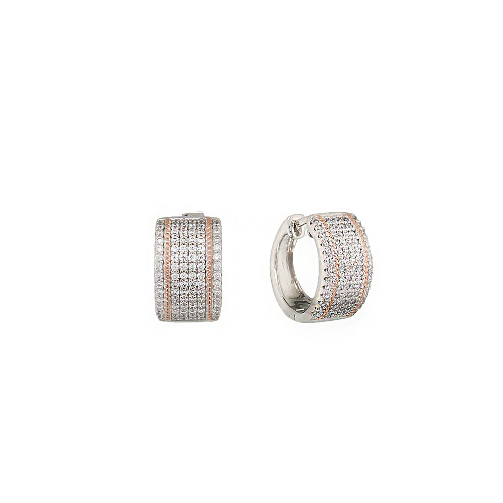 CZ Sterling Silver Pave Huggies