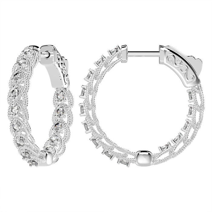 CZ Sterling Silver Inside/Out Hoops