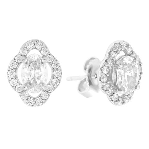 CZ Sterling Silver Oval Halo Earrings