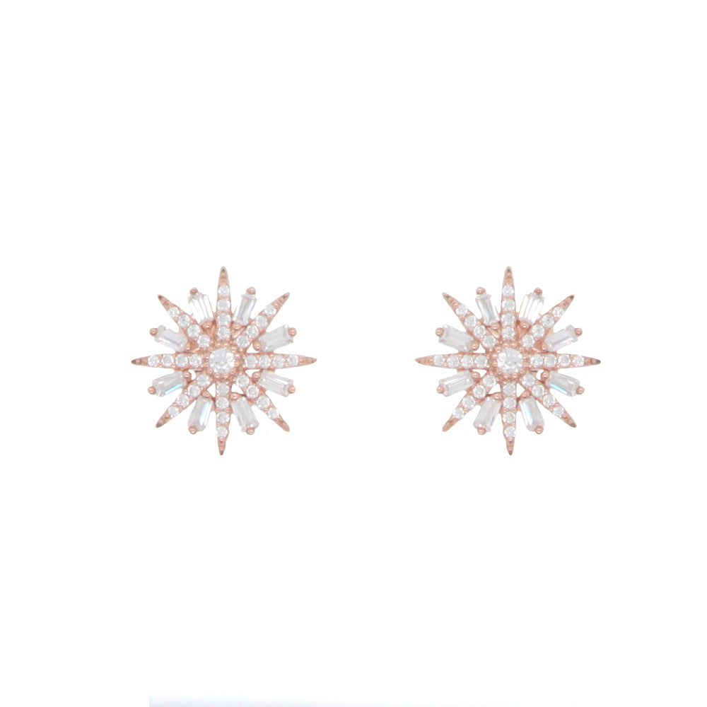 CZ Sterling Silver Snowflake Earrings
