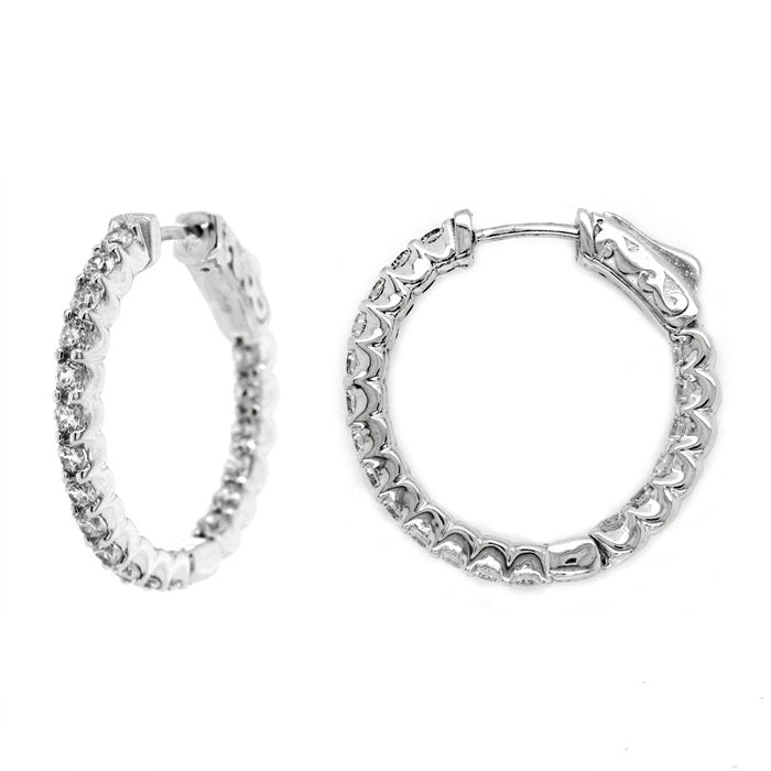 CZ Sterling Silver 1 CTW Hoops