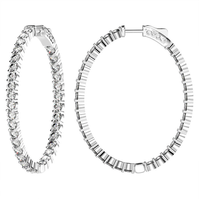 CZ Sterling Silver Oval Inside/Out Hoops