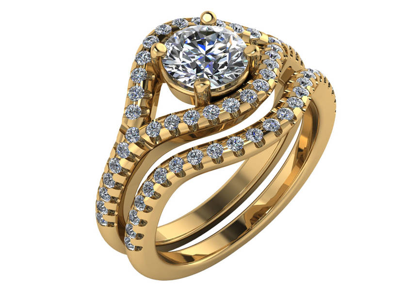 Gold Diamond Wedding Band For M2816-E