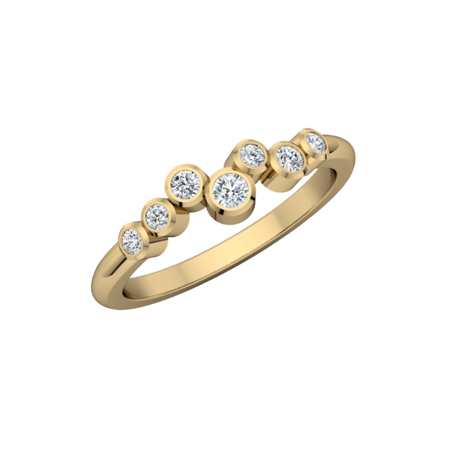 Gold Diamond .20 CTW 7 Stone Fashion Ring