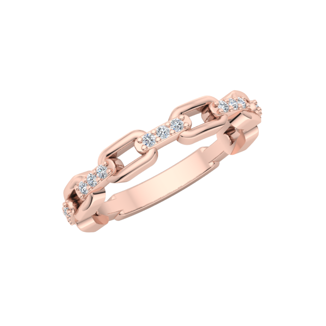 Gold Diamond .15 CTW Chain Link Fashion Ring