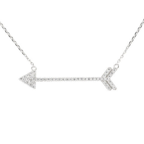 CZ Sterling Silver Arrow Necklace