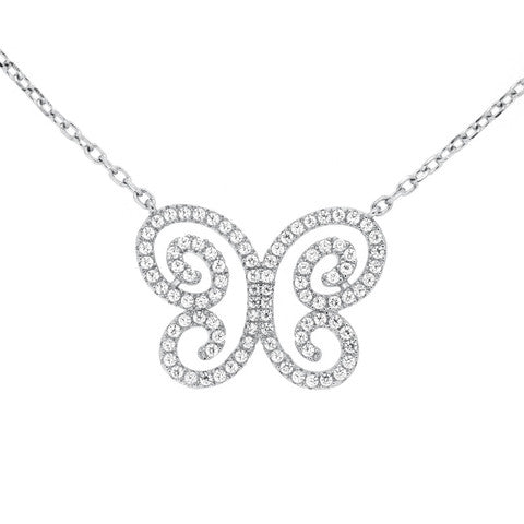 CZ Sterling Silver Butterfly Necklace