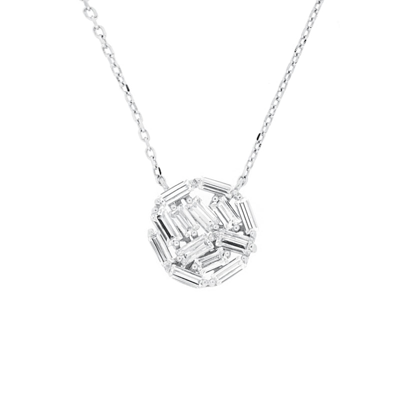 CZ Sterling Silver Cluster Necklace